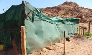 A traditional kraal covered in shade cloth, which usually protects livestock from lions. Gretzky was able to penetrate this one due to a large gash made by the wind.